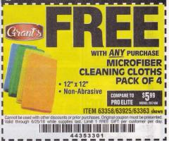 Harbor Freight FREE Coupon MICROFIBER CLEANING CLOTHS PACK OF 4 Lot No. 69678/63358/63363/68440/63925 Expired: 6/25/18 - FWP