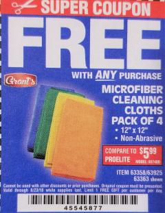 Harbor Freight FREE Coupon MICROFIBER CLEANING CLOTHS PACK OF 4 Lot No. 69678/63358/63363/68440/63925 Expired: 8/23/18 - FWP