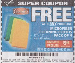 Harbor Freight FREE Coupon MICROFIBER CLEANING CLOTHS PACK OF 4 Lot No. 69678/63358/63363/68440/63925 Expired: 9/6/18 - FWP