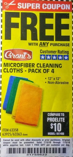 Harbor Freight FREE Coupon MICROFIBER CLEANING CLOTHS PACK OF 4 Lot No. 69678/63358/63363/68440/63925 Expired: 7/15/18 - FWP