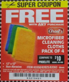 Harbor Freight FREE Coupon MICROFIBER CLEANING CLOTHS PACK OF 4 Lot No. 69678/63358/63363/68440/63925 Expired: 12/21/18 - FWP