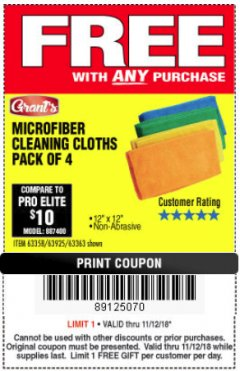 Harbor Freight FREE Coupon MICROFIBER CLEANING CLOTHS PACK OF 4 Lot No. 69678/63358/63363/68440/63925 Expired: 11/18/18 - FWP