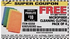 Harbor Freight FREE Coupon MICROFIBER CLEANING CLOTHS PACK OF 4 Lot No. 69678/63358/63363/68440/63925 Expired: 4/9/19 - FWP
