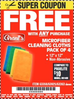 Harbor Freight FREE Coupon MICROFIBER CLEANING CLOTHS PACK OF 4 Lot No. 69678/63358/63363/68440/63925 Valid Thru: 6/6/19 - FWP
