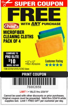 Harbor Freight FREE Coupon MICROFIBER CLEANING CLOTHS PACK OF 4 Lot No. 69678/63358/63363/68440/63925 Expired: 2/24/19 - FWP