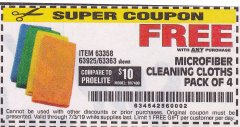 Harbor Freight FREE Coupon MICROFIBER CLEANING CLOTHS PACK OF 4 Lot No. 57162/63358/63925/63363 Expired: 7/3/19 - FWP