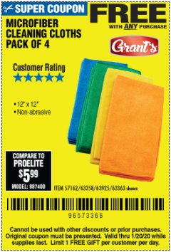 Harbor Freight FREE Coupon MICROFIBER CLEANING CLOTHS PACK OF 4 Lot No. 57162/63358/63925/63363 Expired: 1/20/20 - FWP
