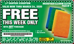 Harbor Freight FREE Coupon MICROFIBER CLEANING CLOTHS PACK OF 4 Lot No. 57162/63358/63925/63363 Expired: 3/24/20 - FWP