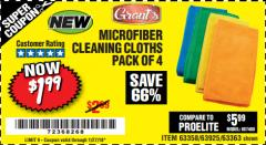 Harbor Freight Coupon MICROFIBER CLEANING CLOTHS PACK OF 4 Lot No. 69678/63358/63363/68440/63925 Expired: 1/27/18 - $1.99