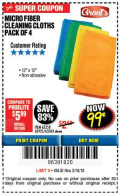 Harbor Freight Coupon MICROFIBER CLEANING CLOTHS PACK OF 4 Lot No. 69678/63358/63363/68440/63925 Expired: 3/18/18 - $0.99