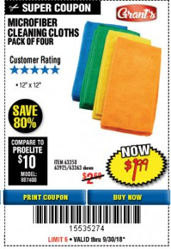 Harbor Freight Coupon MICROFIBER CLEANING CLOTHS PACK OF 4 Lot No. 69678/63358/63363/68440/63925 Expired: 9/30/18 - $1.99