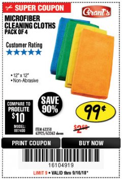 Harbor Freight Coupon MICROFIBER CLEANING CLOTHS PACK OF 4 Lot No. 69678/63358/63363/68440/63925 Expired: 9/16/18 - $0.99
