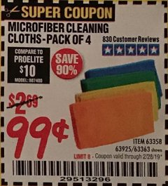 Harbor Freight Coupon MICROFIBER CLEANING CLOTHS PACK OF 4 Lot No. 69678/63358/63363/68440/63925 Expired: 2/28/19 - $0.99