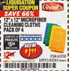 Harbor Freight Coupon MICROFIBER CLEANING CLOTHS PACK OF 4 Lot No. 69678/63358/63363/68440/63925 Valid Thru: 5/31/19 - $1.99