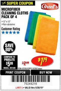 Harbor Freight Coupon MICROFIBER CLEANING CLOTHS PACK OF 4 Lot No. 57162/63358/63925/63363 Expired: 6/30/19 - $1.19