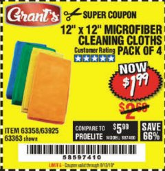 Harbor Freight Coupon MICROFIBER CLEANING CLOTHS PACK OF 4 Lot No. 57162/63358/63925/63363 Expired: 8/12/19 - $1.99
