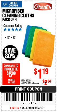 Harbor Freight Coupon MICROFIBER CLEANING CLOTHS PACK OF 4 Lot No. 57162/63358/63925/63363 Expired: 6/23/19 - $1.19