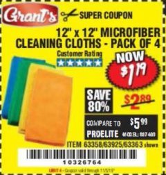 Harbor Freight Coupon MICROFIBER CLEANING CLOTHS PACK OF 4 Lot No. 57162/63358/63925/63363 Expired: 11/5/19 - $1.19