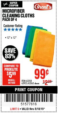 Harbor Freight Coupon MICROFIBER CLEANING CLOTHS PACK OF 4 Lot No. 57162/63358/63925/63363 Expired: 8/18/19 - $0.99