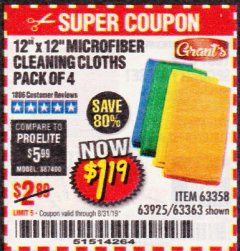 Harbor Freight Coupon MICROFIBER CLEANING CLOTHS PACK OF 4 Lot No. 57162/63358/63925/63363 Expired: 8/31/19 - $1.19