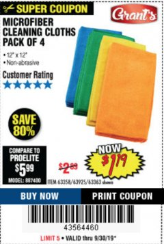 Harbor Freight Coupon MICROFIBER CLEANING CLOTHS PACK OF 4 Lot No. 57162/63358/63925/63363 Expired: 9/30/19 - $1.19