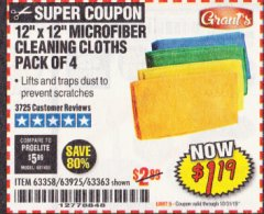 Harbor Freight Coupon MICROFIBER CLEANING CLOTHS PACK OF 4 Lot No. 57162/63358/63925/63363 Expired: 10/31/19 - $1.19