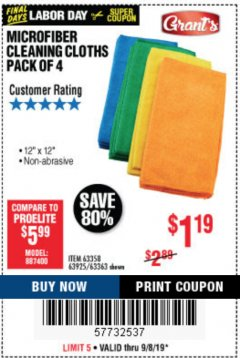 Harbor Freight Coupon MICROFIBER CLEANING CLOTHS PACK OF 4 Lot No. 57162/63358/63925/63363 Expired: 9/8/19 - $1.19