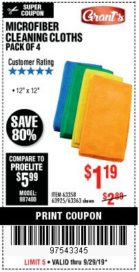 Harbor Freight Coupon MICROFIBER CLEANING CLOTHS PACK OF 4 Lot No. 57162/63358/63925/63363 Expired: 9/29/19 - $1.19