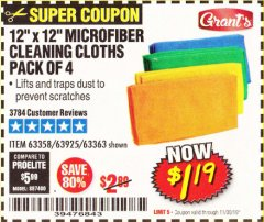 Harbor Freight Coupon MICROFIBER CLEANING CLOTHS PACK OF 4 Lot No. 57162/63358/63925/63363 Expired: 11/30/19 - $1.19