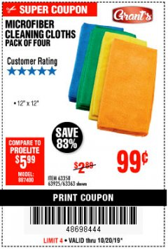 Harbor Freight Coupon MICROFIBER CLEANING CLOTHS PACK OF 4 Lot No. 57162/63358/63925/63363 Expired: 10/20/19 - $0.99