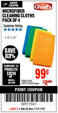 Harbor Freight Coupon MICROFIBER CLEANING CLOTHS PACK OF 4 Lot No. 57162/63358/63925/63363 Expired: 11/17/19 - $0.99