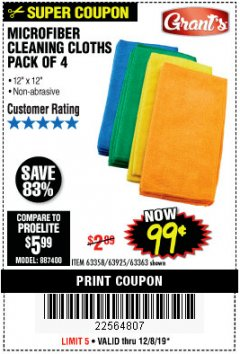 Harbor Freight Coupon MICROFIBER CLEANING CLOTHS PACK OF 4 Lot No. 57162/63358/63925/63363 Expired: 12/8/19 - $0.99