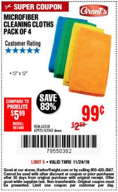 Harbor Freight Coupon MICROFIBER CLEANING CLOTHS PACK OF 4 Lot No. 57162/63358/63925/63363 Expired: 11/24/19 - $0.99