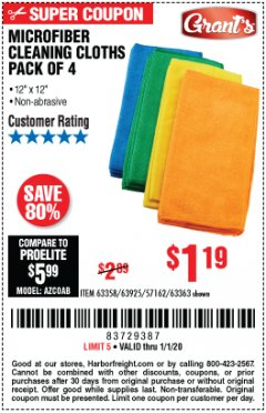 Harbor Freight Coupon MICROFIBER CLEANING CLOTHS PACK OF 4 Lot No. 57162/63358/63925/63363 Expired: 1/1/20 - $1.19