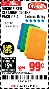 Harbor Freight Coupon MICROFIBER CLEANING CLOTHS PACK OF 4 Lot No. 57162/63358/63925/63363 Expired: 1/19/20 - $0.99