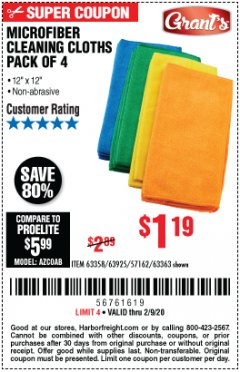 Harbor Freight Coupon MICROFIBER CLEANING CLOTHS PACK OF 4 Lot No. 57162/63358/63925/63363 Expired: 2/9/20 - $1.19