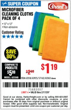 Harbor Freight Coupon MICROFIBER CLEANING CLOTHS PACK OF 4 Lot No. 57162/63358/63925/63363 Expired: 2/17/20 - $1.19
