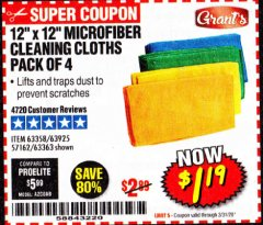Harbor Freight Coupon MICROFIBER CLEANING CLOTHS PACK OF 4 Lot No. 57162/63358/63925/63363 Expired: 3/31/20 - $1.19