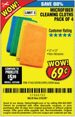 Harbor Freight Coupon MICROFIBER CLEANING CLOTHS PACK OF 4 Lot No. 57162/63358/63925/63363 Expired: 2/23/20 - $0.69