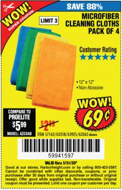 Harbor Freight Coupon MICROFIBER CLEANING CLOTHS PACK OF 4 Lot No. 57162/63358/63925/63363 Expired: 3/31/20 - $0.69