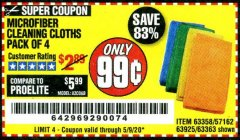 Harbor Freight Coupon MICROFIBER CLEANING CLOTHS PACK OF 4 Lot No. 57162/63358/63925/63363 Valid Thru: 6/30/20 - $0.99