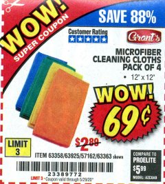 Harbor Freight Coupon MICROFIBER CLEANING CLOTHS PACK OF 4 Lot No. 57162/63358/63925/63363 Valid Thru: 6/30/20 - $0.69