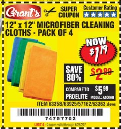 Harbor Freight Coupon MICROFIBER CLEANING CLOTHS PACK OF 4 Lot No. 57162/63358/63925/63363 Valid Thru: 6/28/20 - $1.19