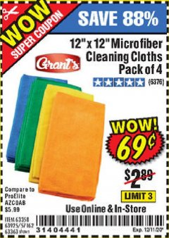 Harbor Freight Coupon MICROFIBER CLEANING CLOTHS PACK OF 4 Lot No. 57162/63358/63925/63363 Valid Thru: 12/11/20 - $0.69
