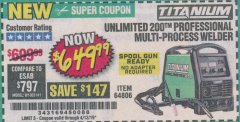 Harbor Freight Coupon TITANIUM UNLIMITED 200 PROFESSIONAL MULTIPROCESS WELDER Lot No. 64806 Expired: 4/13/19 - $649.99