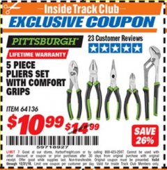 Harbor Freight ITC Coupon 5-PIECE PLIERS SET WITH COMFORT GRIPS Lot No. 64136 Expired: 12/31/18 - $10.99