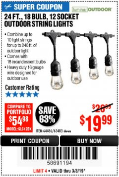 Harbor Freight Coupon 24FT., 18 BULB 12 SOCKET OUTDOOR STRING LIGHTS Lot No. 64486/63483 Expired: 3/3/19 - $19.99