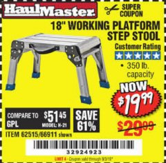"Harbor Freight Coupon 18"" WORKING PLATFORM STEP STOOL Lot No. 62515/66911 Expired: 9/13/19 - $19.99"