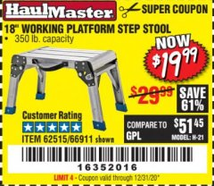 "Harbor Freight Coupon 18"" WORKING PLATFORM STEP STOOL Lot No. 62515/66911 Valid: 9/11/19 - 12/31/20 - $19.99"
