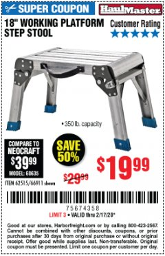 "Harbor Freight Coupon 18"" WORKING PLATFORM STEP STOOL Lot No. 62515/66911 Expired: 2/17/20 - $19.99"